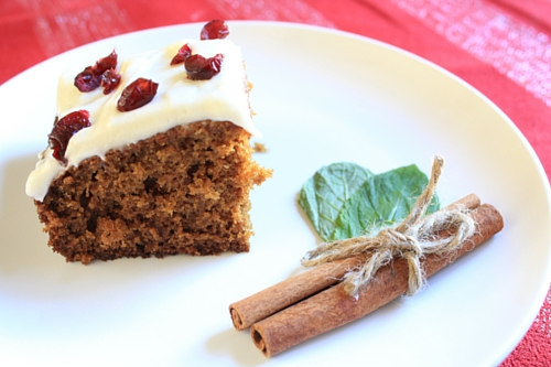 Holiday Gingerbread Loaf with Cream Cheese Frosting