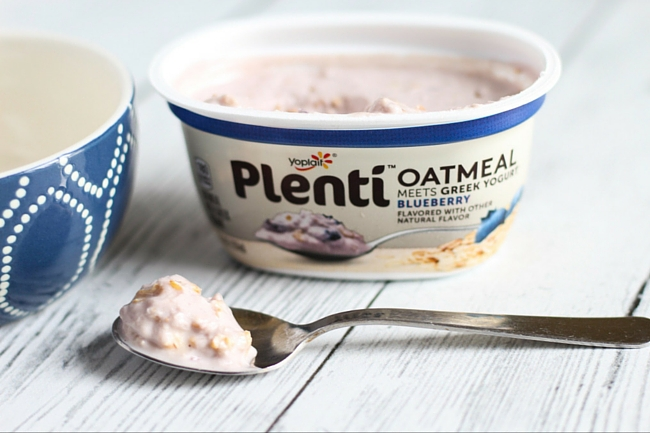 Healthy Breakfast on The Go Featuring Plenti Oatmeal Meets Greek Yogurt - Blueberry Flavor
