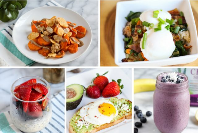Jump start your day with these 5 filling breakfast ideas including a NEW Sweet Potato topped with Almond Butter and Granola recipe.