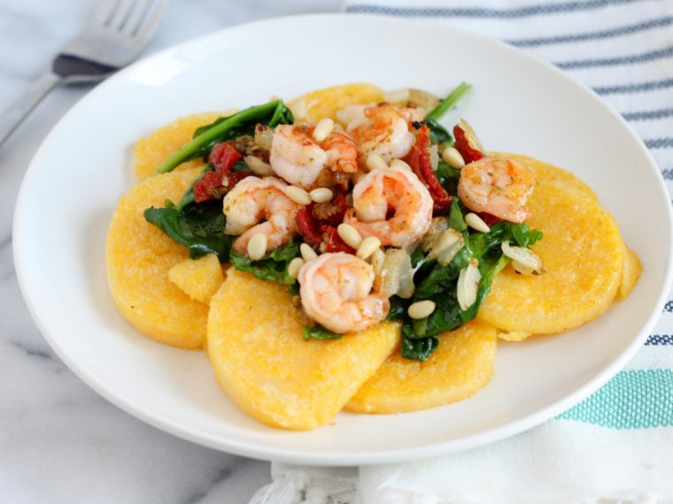 This 20 minute easy Shrimp & Pesto Polenta recipe is perfect for a weeknight meal.