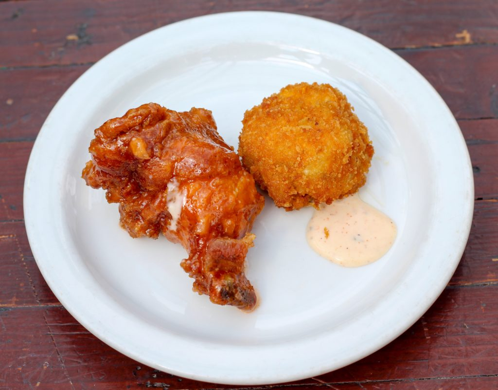 Slater's 50/50 wings and mac & cheese balls at Liberty Station Public Market
