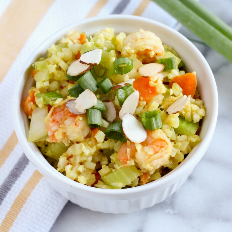 One Pan Shrimp Curry Cauliflower Rice Recipe