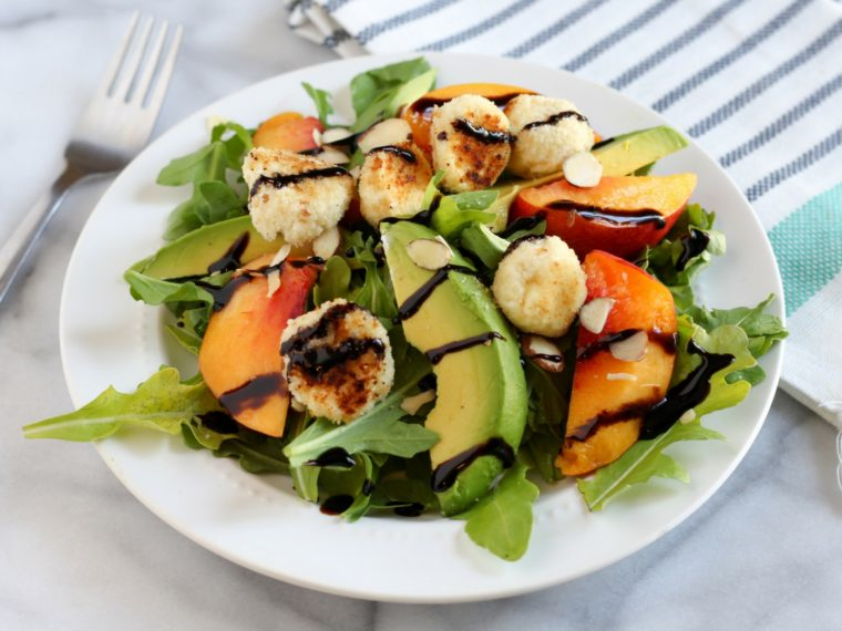 This Fried Goat Cheese & Nectarine Salad is light, refreshing, and oh so easy to make. Simply drizzle with some balsamic glaze and enjoy.