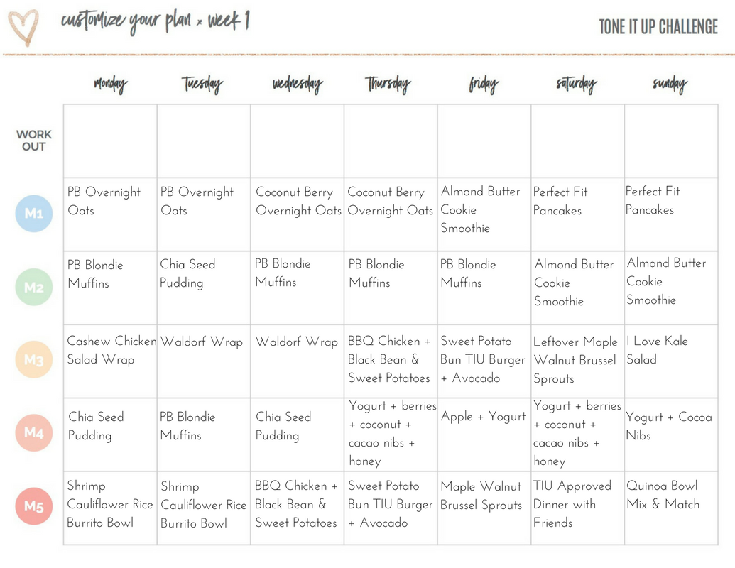 Tone It Up Meal Plan Week 4
