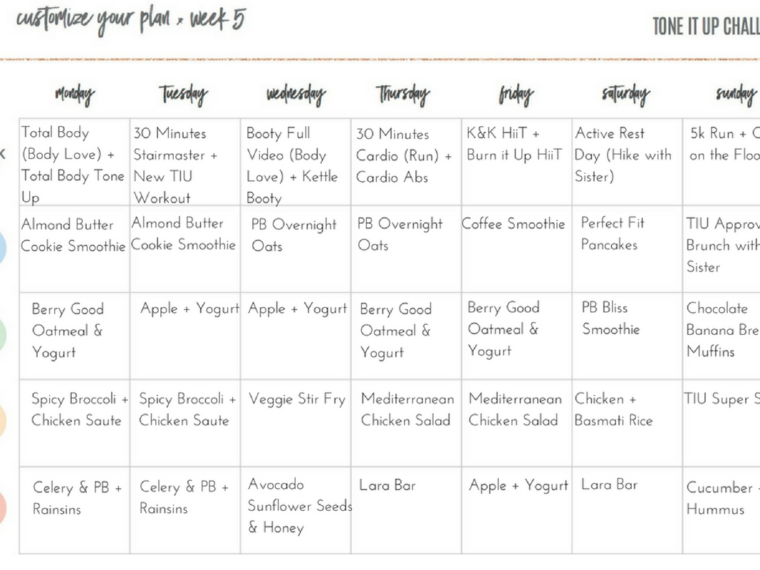 Tone It Up Meal Plan Week 5
