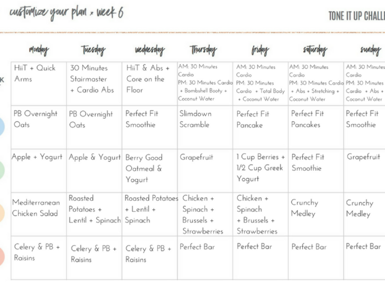 Tone It Up Meal Plan Week 6