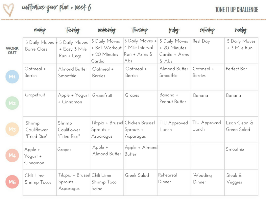 Tone It Up Meal Plan March 20-27