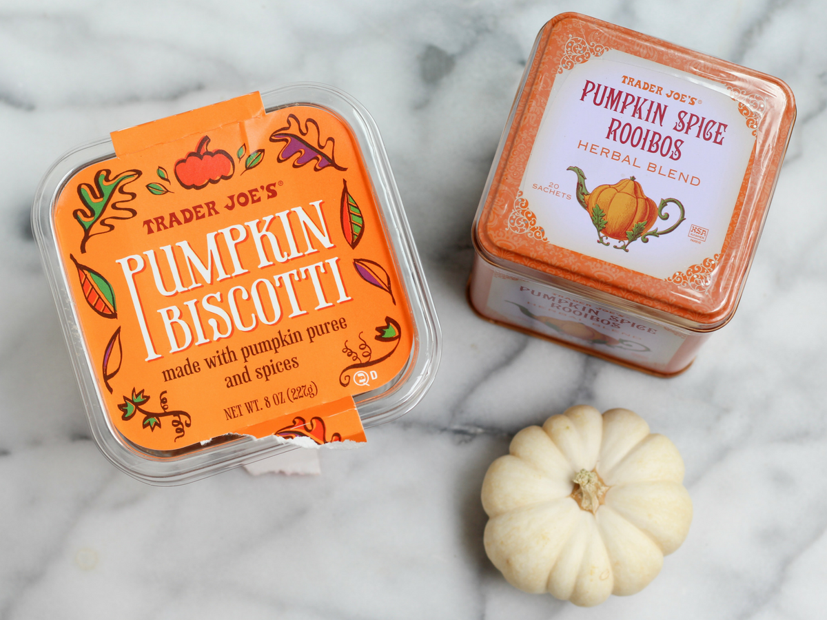 Pumpkin Biscotti and Pumpkin Spice Tea at Trader Joe's
