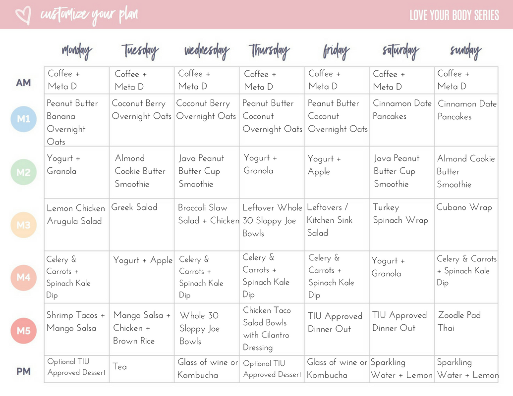 Weekly Meals from the Tone It Up Nutrition Plan